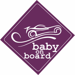 Baby On Board Car Μωβ