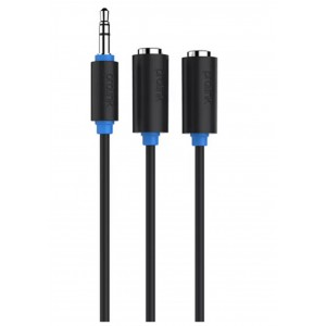 Black Audio Jack 3.5mm Αρσενικό - 2xJack 3.5mm Θηληκό - 0,30mm