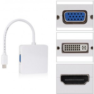 Yβριδικό Converter 3-in-1 – Mini DisplayPort to VGA / HDMI / DVI